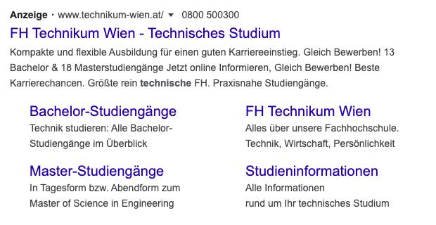 Google Suche Anzeige der FHTW